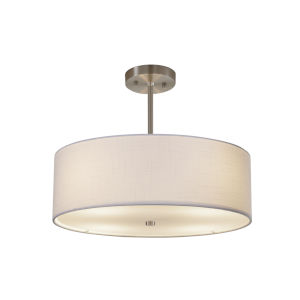 Textile Brushed Nickel and White Four-Light LED Pendant