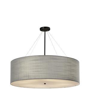 Textile Matte Black and Gray Eight-Light LED Pendant