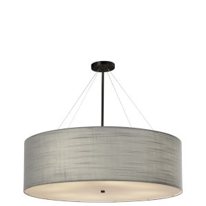 Textile Matte Black and Gray Eight-Light Pendant