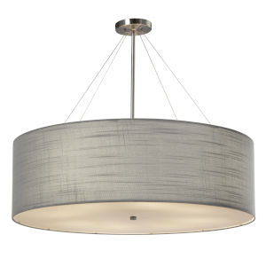 Textile Classic Brushed Nickel and Gray Eight-Light LED Pendant