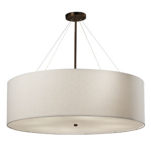 Textile Classic Dark Bronze and White Eight-Light LED Pendant