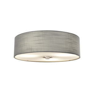 Textile Brushed Nickel and Gray Three-Light Flush Mount