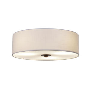 Textile Dark Bronze and White Three-Light Flush Mount