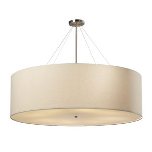 Textile Classic Brushed Nickel and Cream Eight-Light Drum Pendant