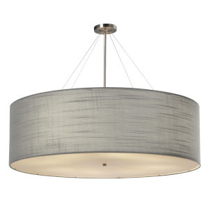 Textile Classic Brushed Nickel and Gray Eight-Light Drum Pendant