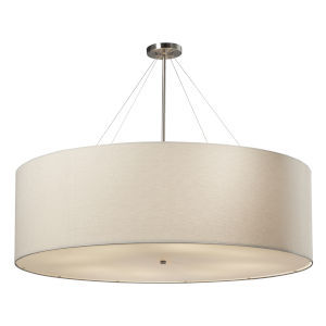 Textile Classic Brushed Nickel and White Eight-Light Drum Pendant