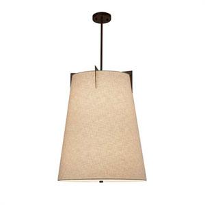 Textile - Midtown Dark Bronze Three-Light LED Drum Pendant with Cream Shade