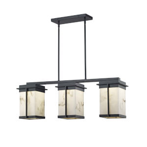 LumenAria - Pacific Brushed Nickel Eight-Inch Three-Light LED Outdoor Chandelier