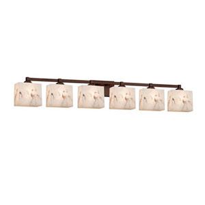 LumenAria - Regency Dark Bronze Six-Light LED Bath Bar with Rectangle Faux Alabaster Shade