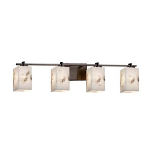 LumenAria - Era Dark Bronze Four-Light LED Bath Bar with Square Flat Rim Faux Alabaster Shade