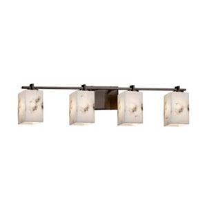 LumenAria - Era Polished Chrome Four-Light LED Bath Bar with Square Flat Rim Faux Alabaster Shade