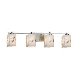 LumenAria - Era Brushed Nickel Four-Light LED Bath Bar with Square Flat Rim Faux Alabaster Shade