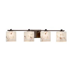 LumenAria - Era Dark Bronze Four-Light Bath Bar with Oval Faux Alabaster Shade
