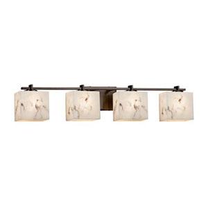 LumenAria - Era Dark Bronze Four-Light LED Bath Bar with Rectangle Faux Alabaster Shade