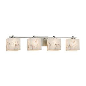 LumenAria - Era Brushed Nickel Four-Light LED Bath Bar with Rectangle Faux Alabaster Shade