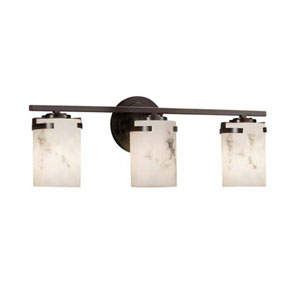 LumenAria - Atlas Matte Black Three-Light LED Bath Bar with Cylinder Flat Rim Faux Alabaster Shade