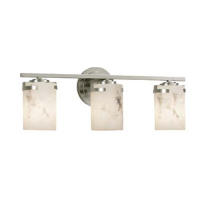 LumenAria - Atlas Brushed Nickel Three-Light LED Bath Bar with Cylinder Flat Rim Faux Alabaster Shade