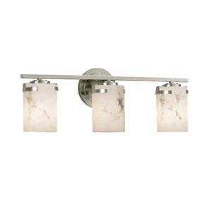 LumenAria - Atlas Brushed Nickel Three-Light Bath Bar with Cylinder Flat Rim Faux Alabaster Shade