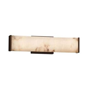 LumenAria - Latitude Dark Bronze 19-Inch LED ADA Bath Vanity with Faux Alabaster Shade