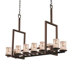 LumenAria Dakota Dark Bronze 12-Light Downlight Bridge Chandelier