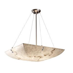 LumenAria Brushed Nickel Eight-Light Square Bowl Pendant