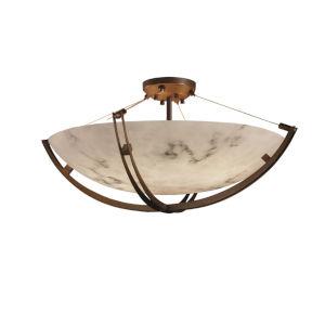 LumenAria Crossbar Dark Bronze Eight-Light Semi-Flush Mount