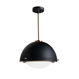 Fusion Matte Black and Brass Two-Light Pendant