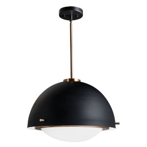 Fusion Matte Black and Brass Three-Light Pendant