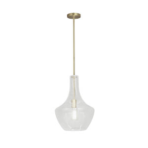 Fusion Harlow Brushed Brass One-Light Pendant with Seeded Glass