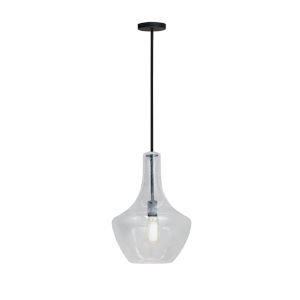 Fusion Harlow Matte Black One-Light Pendant with Seeded Glass