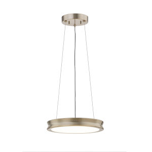 Fusion Bevel Brushed Brass LED Pendant with Opal Glass Shade
