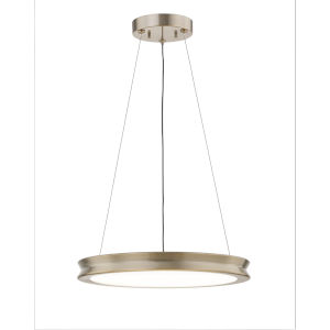 Fusion Bevel Brushed Brass LED Pendant with Opal Glass