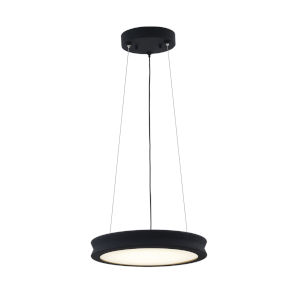 Fusion Bevel Matte Black LED Pendant with Opal Glass