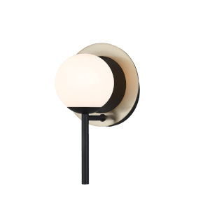 Fusion Matte Black and Brass One-Light Wall Sconce