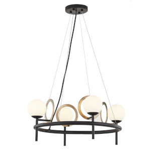 Fusion Matte Black and Brass Four-Light Chandelier