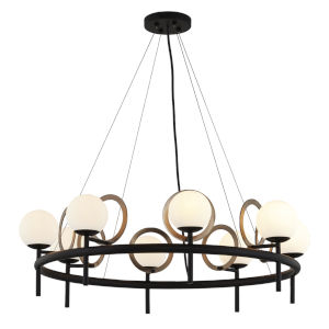Fusion Matte Black and Brass Eight-Light Chandelier
