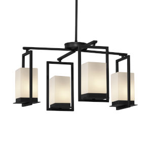 Fusion Matte Black Four-Light LED Chandelier with Opal Glass