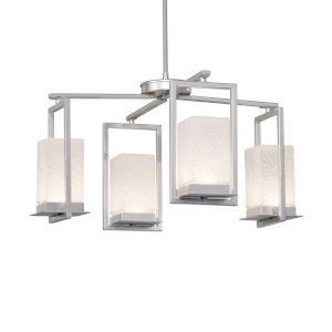 Fusion Brushed Nickel Four-Light LED Chandelier with Weave Glass