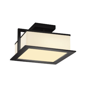 Fusion Matte Black LED Flush Mount with Opal Glass