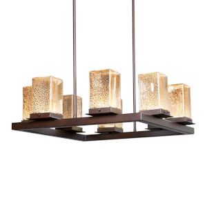 Fusion - Laguna Dark Bronze 25-Inch Eight-Light LED Outdoor Chandelier with Mercury Glass
