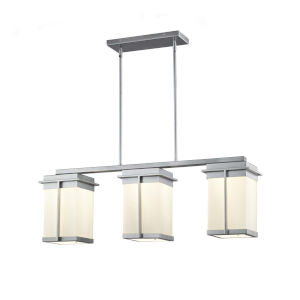 Fusion - Pacific Matte Black Eight-Inch Three-Light LED Outdoor Chandelier with Opal Shade