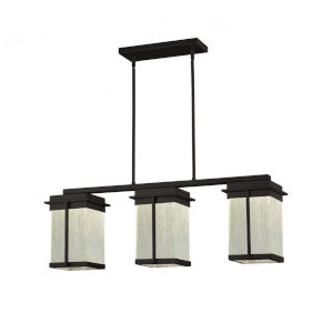 Fusion - Pacific Matte Black Eight-Inch Three-Light LED Outdoor Chandelier with Rain Shade