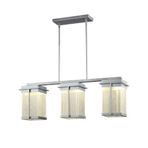 Fusion - Pacific Matte Black Eight-Inch Three-Light LED Outdoor Chandelier