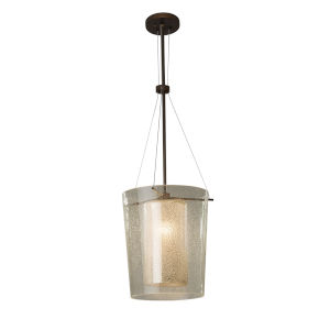 Fusion Dark Bronze One-Light Pendant with Mercury Glass