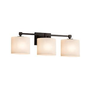 Fusion Tetra Matte Black Three-Light LED Bath Vanity with Oval Shade