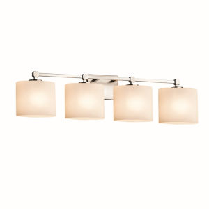 Fusion Tetra Brushed Nickel Four-Light LED Bath Vanity with Oval Shade