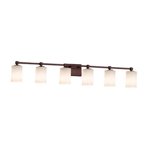 Fusion - Tetra Dark Bronze Six-Light LED Bath Bar with Cylinder Flat Rim Opal Shade