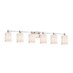 Fusion - Tetra Brushed Nickel Six-Light Bath Bar with Square Flat Rim Ribbon Shade