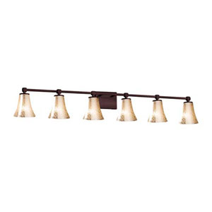 Fusion - Tetra Dark Bronze Six-Light LED Bath Bar with Round Flared Mercury Glass Shade