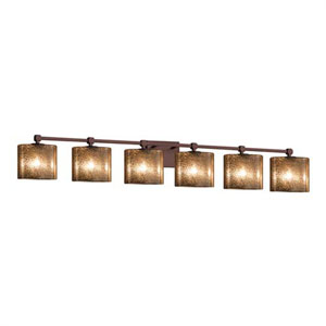 Fusion - Tetra Dark Bronze Six-Light LED Bath Bar with Oval Mercury Glass Shade